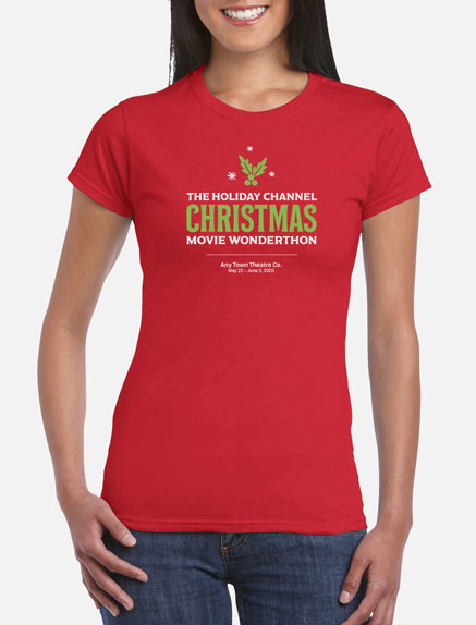 Women's The Holiday Channel Christmas Movie Wonderthon T-Shirt
