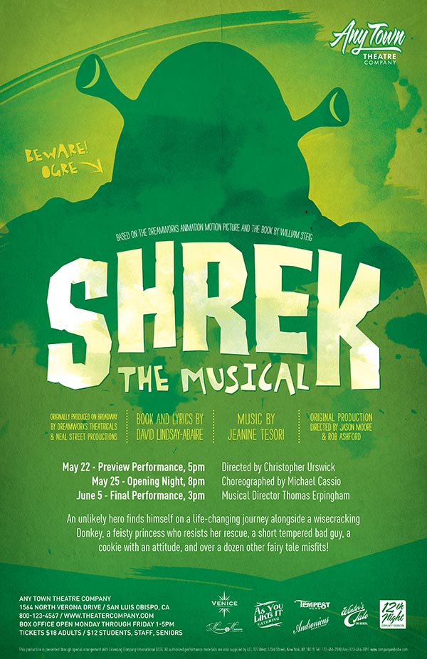 Shrek The Musical Poster Design and Logo Pack